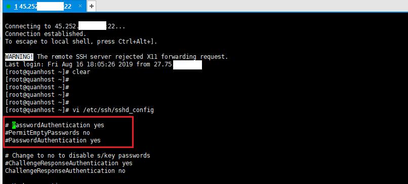 disable ssh PasswordAuthenticatio 3