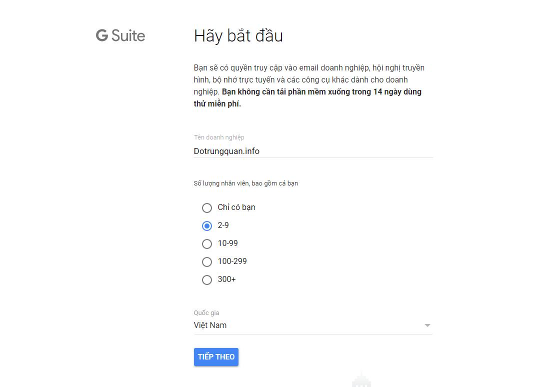 Đăng ký dùng thử G suite