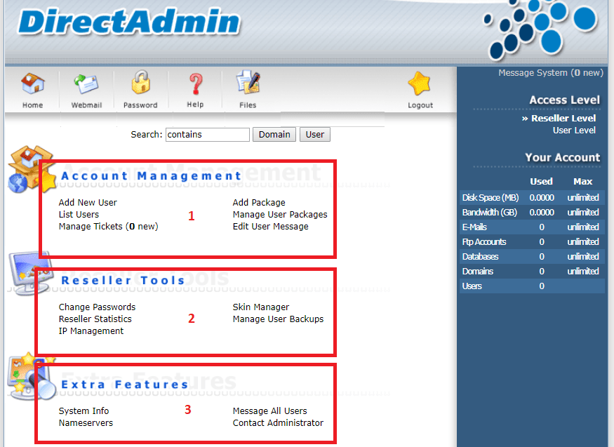 Hướng dẫn tạo gói và sử dụng DirectAdmin
