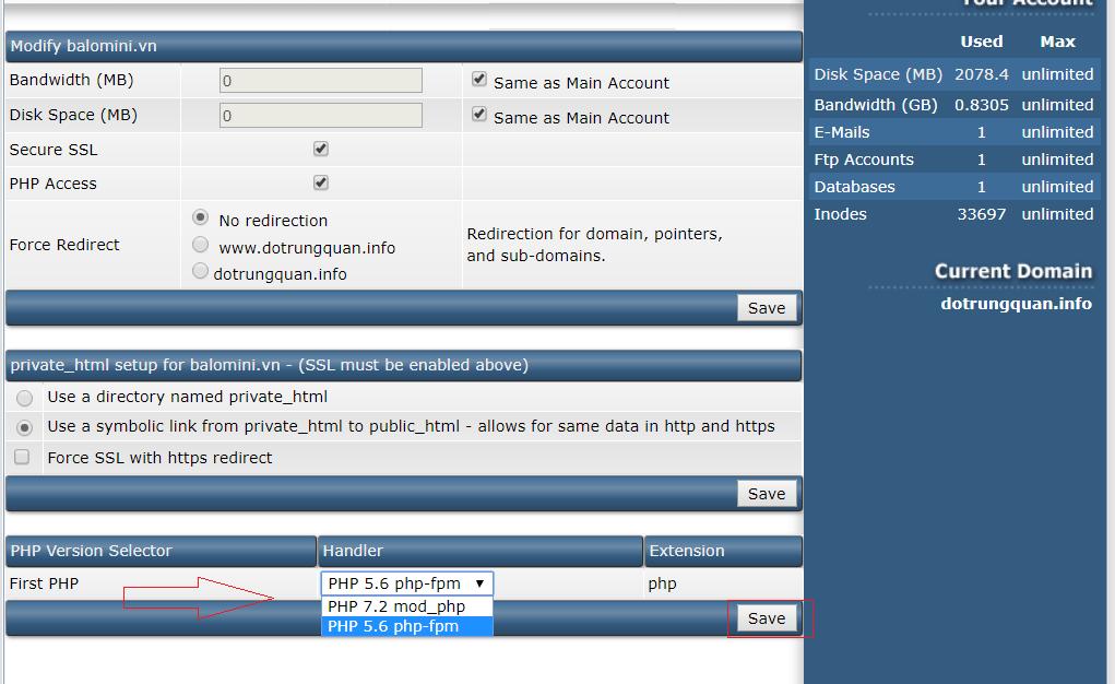 Cài nhiều phiên bản php Directadmin