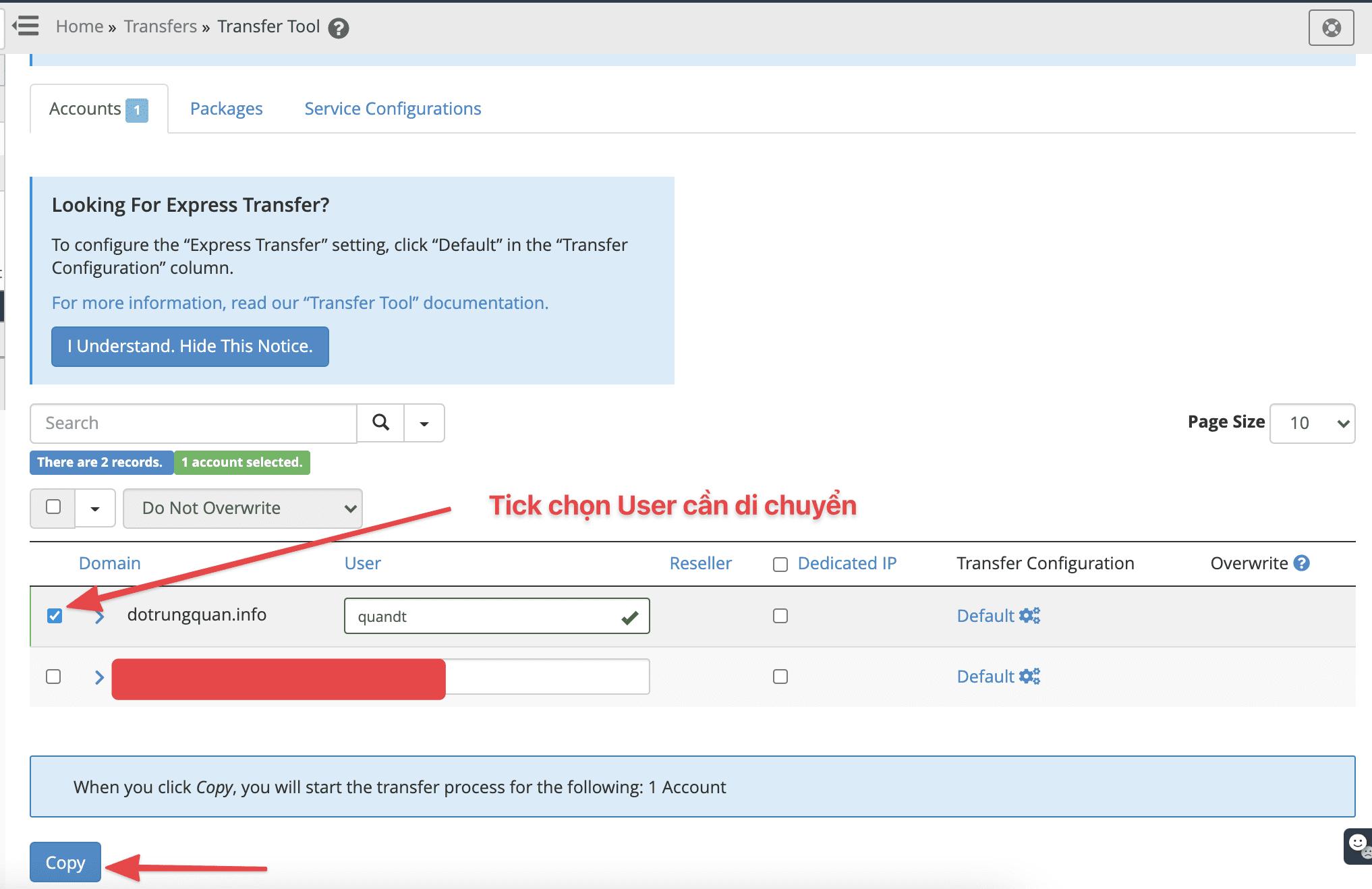 Hướng dẫn di chuyển DirectAdmin sang cPanel