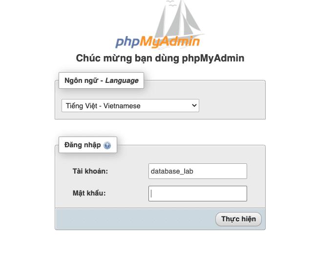 Hướng dẫn tạo Database và đăng nhập phpMyAdmin