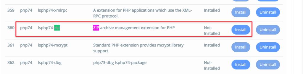 Lỗi Extension ZIP trên PHP 7.4 của CyberPanel và cách cài đặt