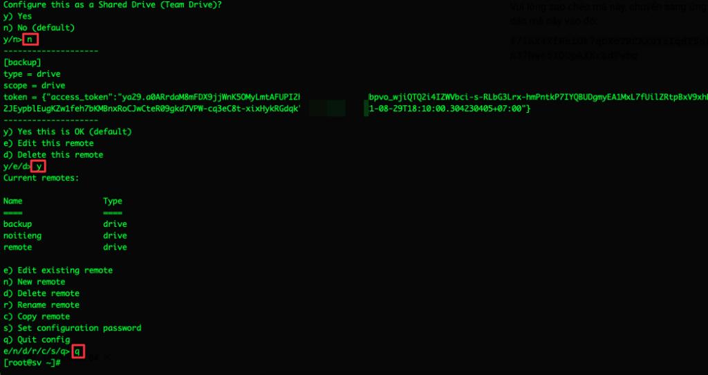 Sao lưu website lên Google Drive với  Rclone