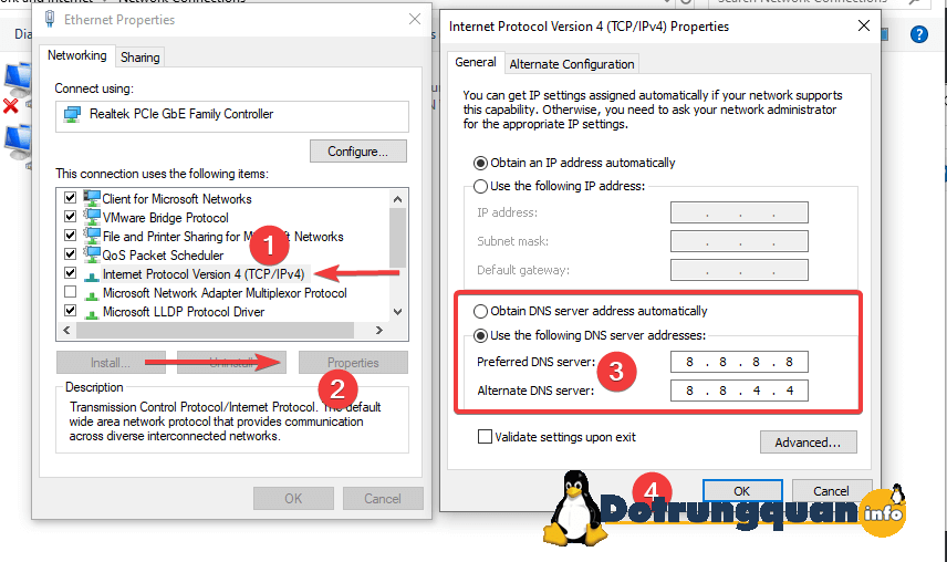 How to change dns google 4