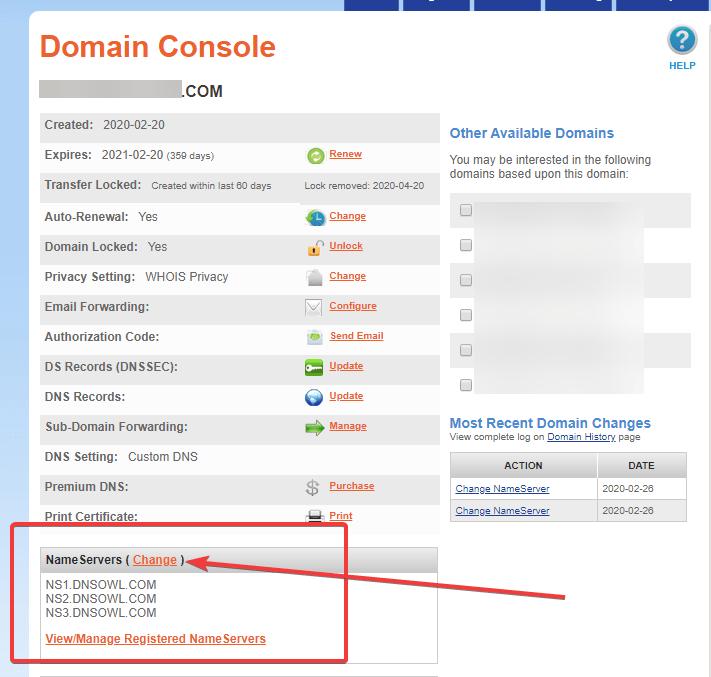 dns domain namesilo nameserver 1